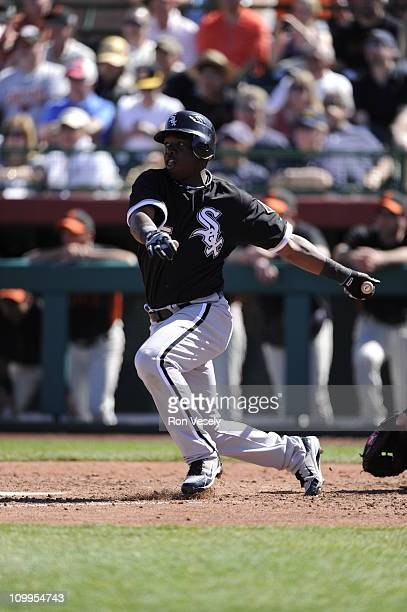 Lastings Milledge of the Chicago White Sox bats against the San Francisco Giants on March 09 2011 at Scottsdale Stadium in Scottsdale Arizona The...