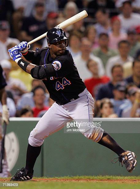 Lastings Milledge of the New York Mets bats against the Boston Red Sox on June 27 2006 at Fenway Park in Boston Massachusetts