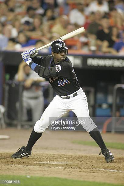 Lastings Milledge of the New York Mets in action during MLB regular season game against the Baltimore Orioles played at Shea Stadium in Queens NY on...