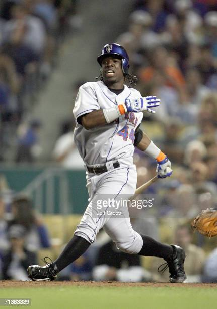Lastings Milledge of the New York Mets swings at the pitch against the Los Angeles Dodgers during the game on June 6 2006 at Dodger Stadium in Los...