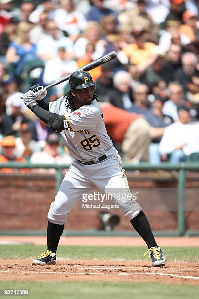 Lastings Milledge of the Pittsburgh Pirates hitting during the game against the San francisco Giants at ATT Park on April 14 2010 in San Francisco...