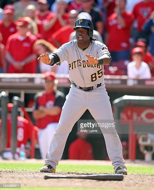 Lastings Milledge of the Pittsburgh Pirates is pictured during the game against the Cincinnati Reds at Great American Ballpark on September 12 2010...