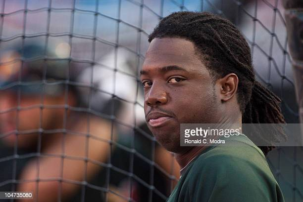 Lastings Milledge of the Pittsburgh Pirates looks on during batting practice before a MLB game against the Florida Marlins at Sun Life Stadium on...
