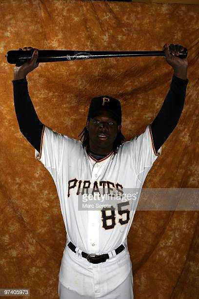 Lastings Milledge of the Pittsburgh Pirates poses for photos during media day on February 28 2010 in Bradenton Florida