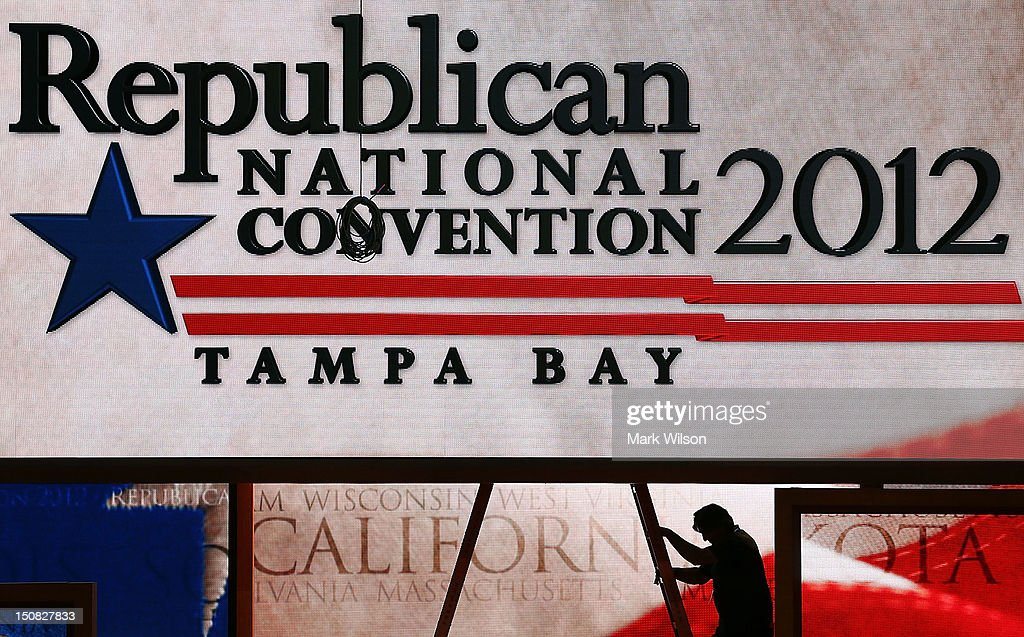 Last-minute adjustments are made to the main stage at the Tampa Bay Times Forum on the abbreviated first day of the Republican National Convention August 27, 2012 in Tampa, Florida. Organizers decided to delay the start of the convention as the projected path of Tropical Storm Isaac' put the storm blowing past Tampa and into the Gulf of Mexico.