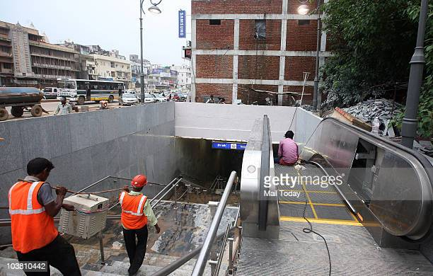 Lastminute work at the Green Park station of the Delhi Metro's Qutub MinarCentral Secretariat Stretch which opens for the public on September 3 in...