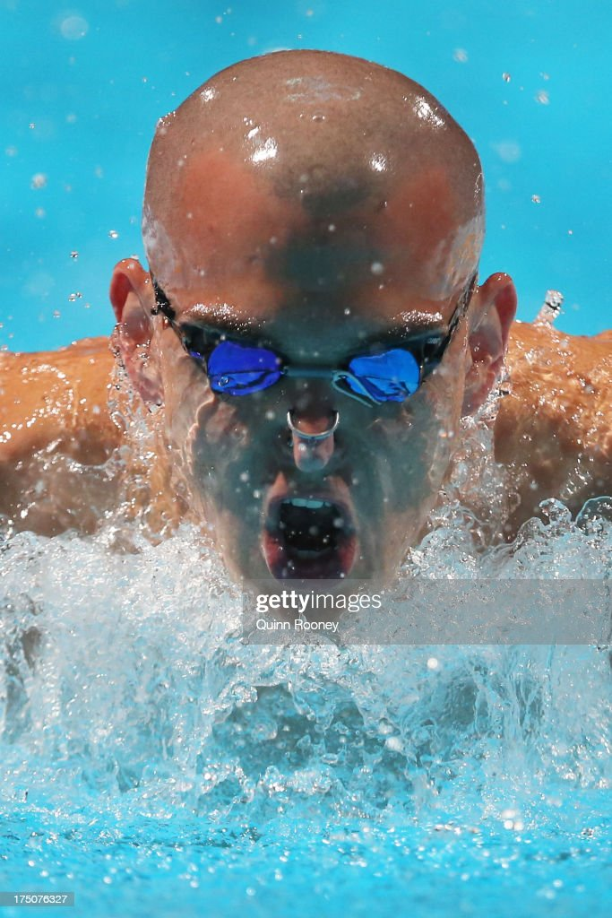 Laszio Cseh of Hungary competes during the Swimming Men's 200m Medley preliminaries heat three on day twelve of the 15th FINA World Championships at Palau Sant Jordi on July 31, 2013 in Barcelona, Spain.