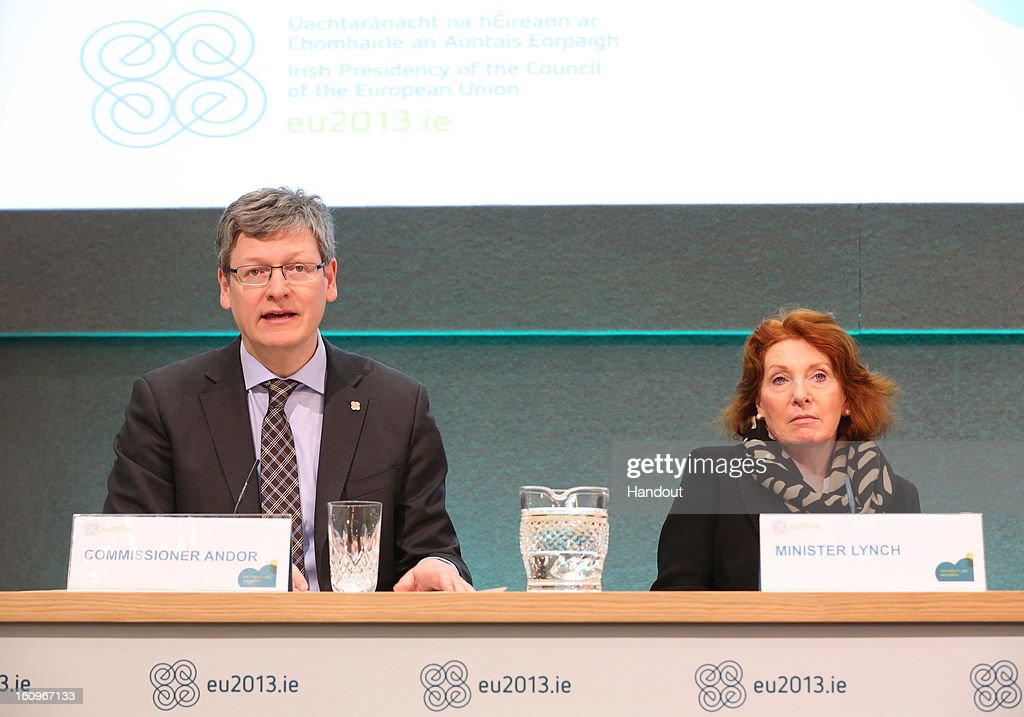 Laszlo Andor, Commissioner for Employment, Social Affairs and Inclusion, speaks to the press beside athleen Lynch T.D, Irish Minister for Disability, Equality and Mental Health, at the second plenary session of the Informal Meeting of Ministers for Employment and Social Affairs (EPSCO) on February 8, 2013 in Dublin Castle, Dublin, Ireland.