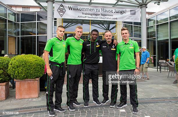 Laszlo Benes Marvin Schulz Mamadou Doucoure Physiotherapist Andreas Bluhm and Patrick Herrmann of Borussia Moenchengladbach arrive at their Hotel on...