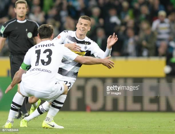 Laszlo Benes of Borussia Moenchengladbach celebrates his goal with Lars Stindl of Borussia Moenchengladbach during the Bundesliga match between...
