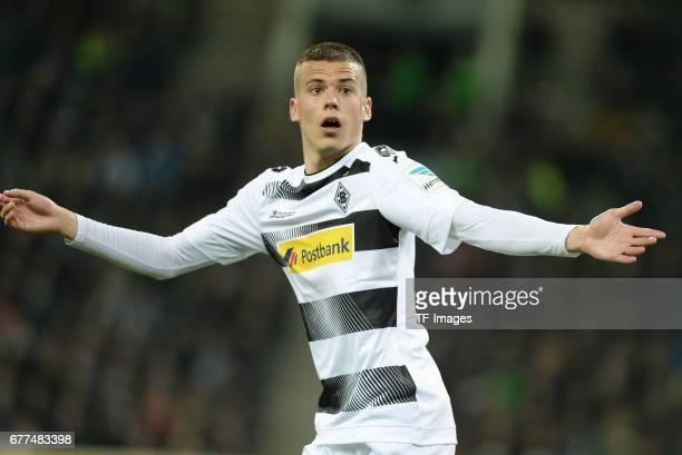 Laszlo Benes of Borussia Moenchengladbach gestures during the Bundesliga match between Borussia Moenchengladbach and Hertha BSC at BorussiaPark on...