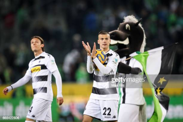 Laszlo Benes of Moenchengladbach celebrates after the Bundesliga match between Borussia Moenchengladbach and Hertha BSC at BorussiaPark on April 5...