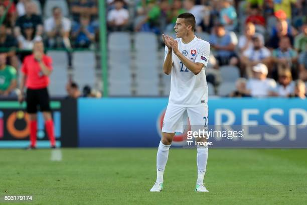 Laszlo Benes of Slovakia gestures during the 2017 UEFA European Under21 Championship match between Slovakia and England on June 19 2017 in Kielce...