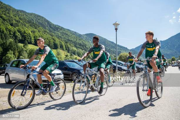 Laszlo Benes Reece Oxford and Michael Cuisance of Borussia Moenchengladbach during a training session at the Training Camp of Borussia...