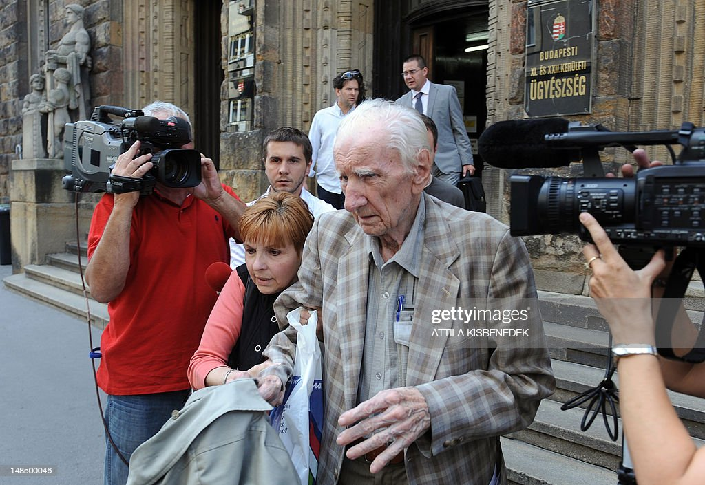 Laszlo Csatary, alias Ladislaus Csizsik-Csatary, leaves the court building of Budapest on July 18, 2012 as he is obligated for a 30-day home custody. Laszlo Csatary, 97, number one on the Simon Wiesenthal Center's wanted list. Csatary, accused by the Wiesenthal Center of having helped organise the deportation of some 15,700 Jews to the Auschwitz death camp during World War II.