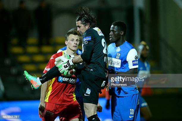 Laszlo Koteles of KRC Genk first to the ball during the Cofidis Cup 1/4 final return match between KV Oostende and KRC Genk in the Albertpark stadium...