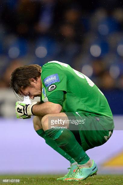 Laszlo Koteles of KRC Genk shows dejection during the Jupiler League match between KRC Genk and Club Brugge on February 09 2014 in the Cristal Arena...