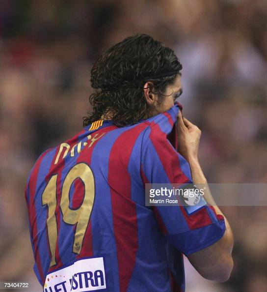 Laszlo Nagy of Barcelona wipes his face after the Champions League quarter final game between SG Flensburg Handewitt and FC Barcelona at the Campus...