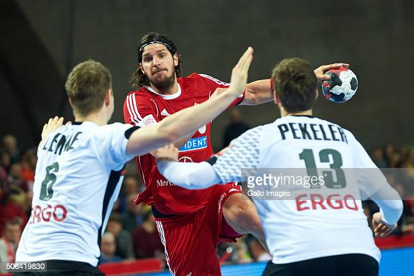 Laszlo Nagy of Hungary during the 2 group match of the EHF European Men's Handball Championship between Germany and Hungary at Centennial Hall on...