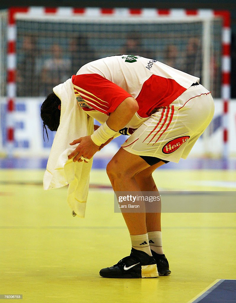 Laszlo Nagy of Hungary stands dejected on the floor after loosing the Men's Handball European Championship main round Group II match between Hungary and Iceland at Trondheim Spektrum on January 23, 2008 in Trondheim, Norway.