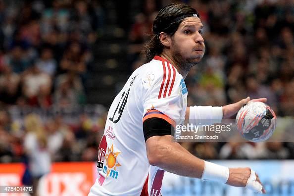 Laszlo Nagy of Veszprem controls the ball during the 'VELUX EHF FINAL4' final match between FC Barcelona and MKBMVM Veszprem at Lanxess Arena on May...