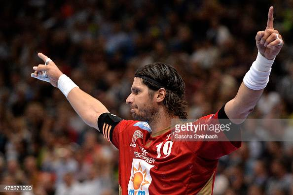 Laszlo Nagy of Veszprem reacts during the 'VELUX EHF FINAL4' semi final match between THW Kiel v MKBMVM Veszprem at Lanxess Arena on May 30 2015 in...