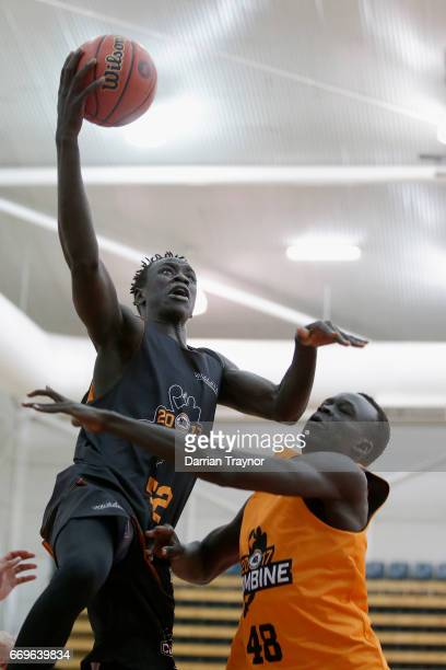 Lat Mayen drives to the basket during the NBL Combine 2017/18 at Melbourne Sports and Aquatic Centre on April 18 2017 in Melbourne Australia