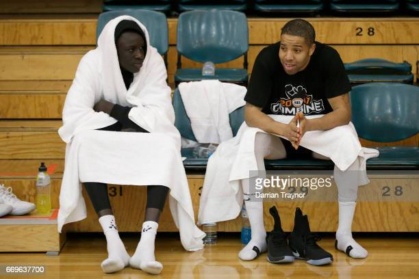 Lat Mayen keeps warm between games during the NBL Combine 2017/18 at Melbourne Sports and Aquatic Centre on April 18 2017 in Melbourne Australia