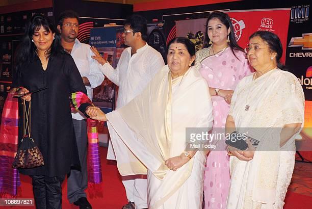Lata and Usha Mangeshkar during the Global Indian Music Awards function in Mumbai on Wednesday November 10 2010