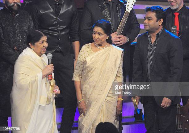 Lata Mangeshkar and Asha Bhonsle with AR Rahman during the Global Indian Music Awards function in Mumbai on Wednesday November 10 2010