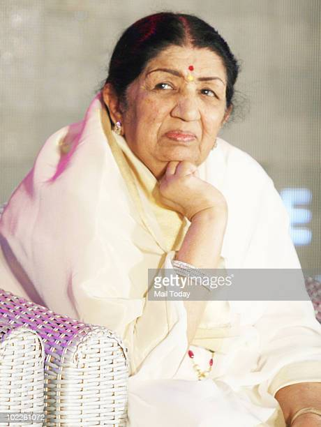 Lata Mangeshkar at the launch of 'Chehere' a coffee table book compiled by celebrity photographer Gautam Rajadhakshya in Mumbai on June 18 2010
