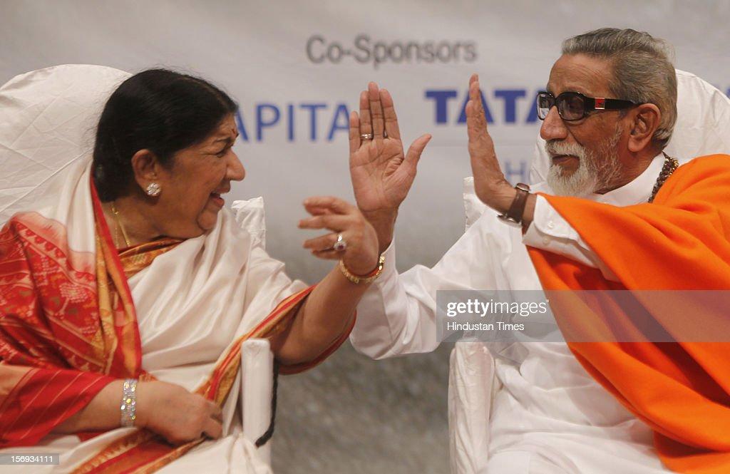Lata Mangeskar and Bal Thackeray during Master Dinanath Mangeshkar memorial award at Shanmukhananda Hall at Sion on April 24, 2012 in Mumbai, India.