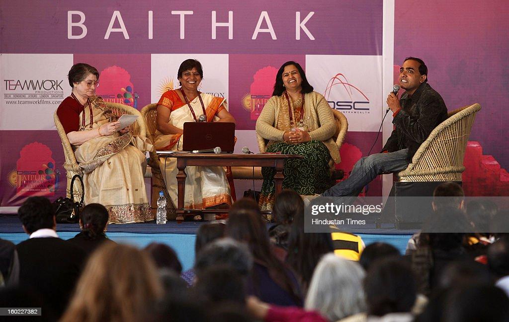 Lata Sharma, Preeta Bhargava and Sushila Shivran in conversation with Dushyant at the Jaipur Literature Festival on January 28, 2013 in Jaipur, India.