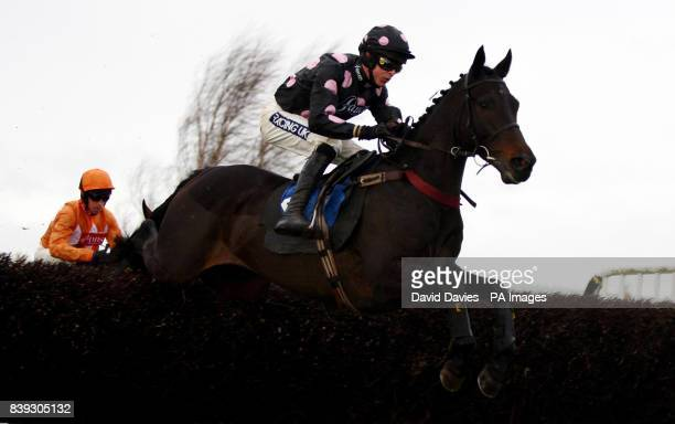 Latanier riden by Aidan Coleman on their way to victory in the Oldfield Beginners' Steeple Chase at Ludlow Racecourse