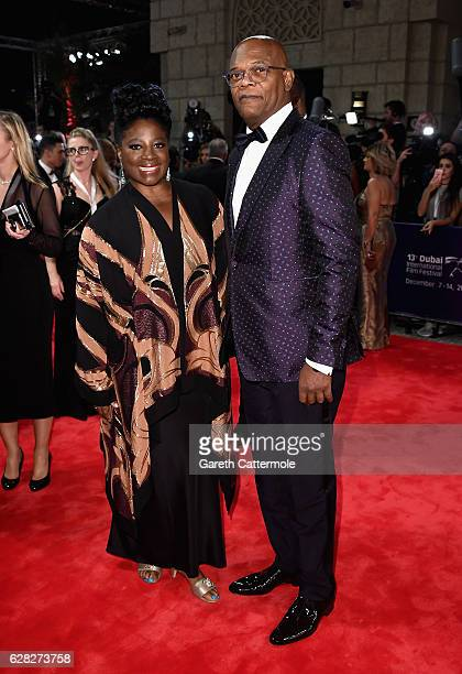 LaTanya Richardson and Samuel L Jackson attend the Opening Night Gala during day one of the 13th annual Dubai International Film Festival held at the...
