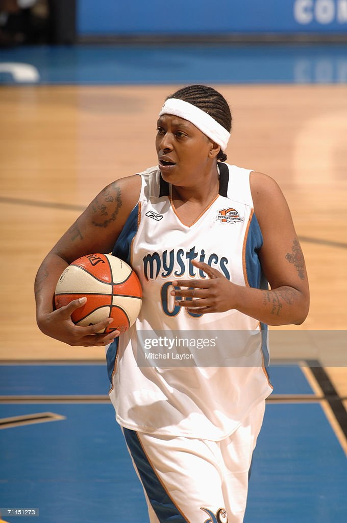 Latasha Byears #00 of the Washington Mystics is shown during a game against the Indiana Fever at MCI Center on June 27, 2006 in Washington, D.C. The Fever won 74-67.