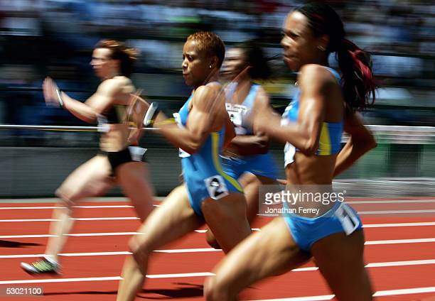 LaTasha Colander runs to a second place finish in the Women's 100m during the 2005 Nike Prefontaine Classic Grand Prix on June 4 2005 at Hayward...