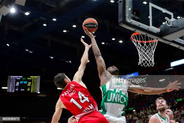 Latavious Williams #22 of Unics Kazan in action during the 2016/2017 Turkish Airlines EuroLeague Regular Season Round 30 game between EA7 Emporio...