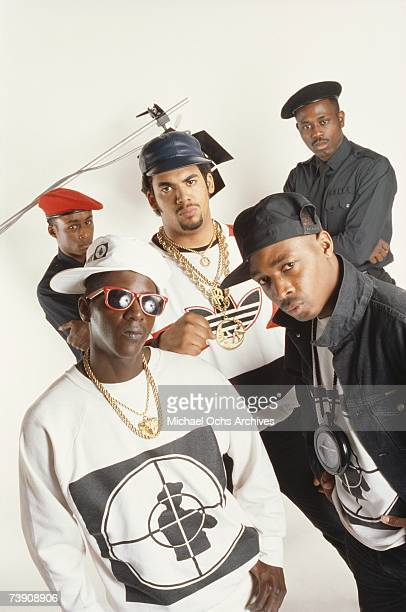 Late 1980s New York New York City Public Enemy Clockwise from bottom left Flavor Flav Professor Griff Terminator X Brother Roger Chuck D