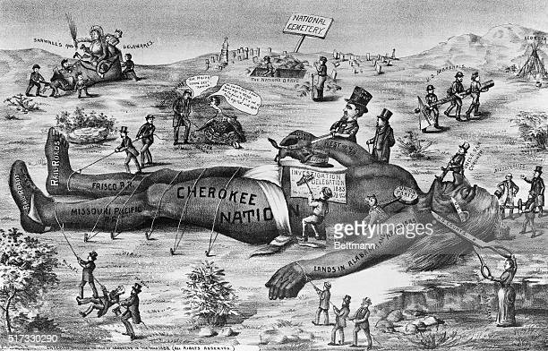 Late 19thcentury political cartoon showing injustices and cruelty to Native Americans including the Cherokee Shawnee and Delaware nations by American...