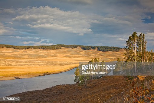 Late afternoon on Yellowstone River, Wyoming, USA : Stock Photo