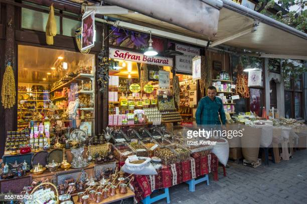 Late afternoon picture of spice shops at Safranbolu town, Karabuk Turkey
