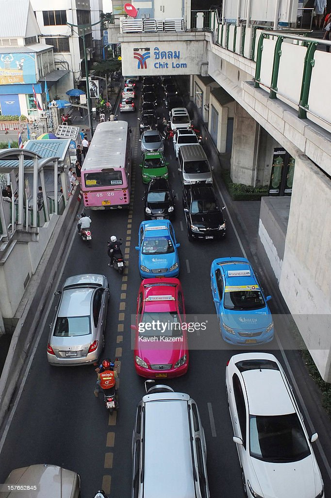 Late afternoon rush hour on October 25, 2012 in Bangkok, Thailand.