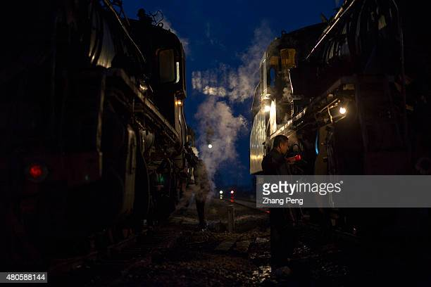 Late at night the last steam locomotives are still working just as they have done in the past 50 years Fuxin located in China's northeast Liaoning...