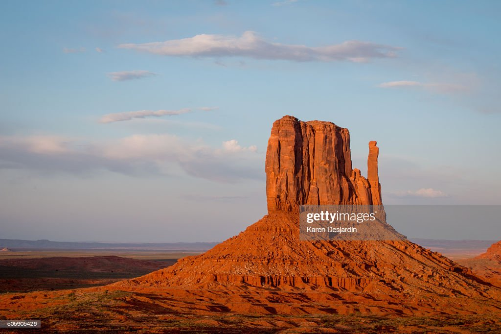 Late day light on West Mitten Butte, Monument Valley, AZ