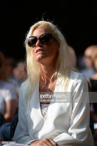 Late Gonzague Saint Bris' companion Alice Bertheaume attends a tribute to the French writer during the 22th La Foret Des Livres book fair on August...