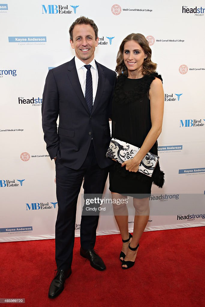Late Night host Seth Meyers and wife Alexi Ashe attend The Headstrong Project's 3rd annual Words of War event at One World Trade Center on October 19, 2015 in New York City.