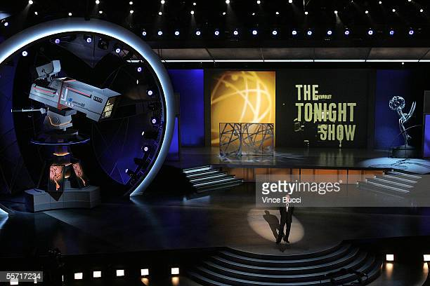 Late Night TV Show Host David Letterman makes a tribute to Johnny Carson onstage at the 57th Annual Emmy Awards held at the Shrine Auditorium on...