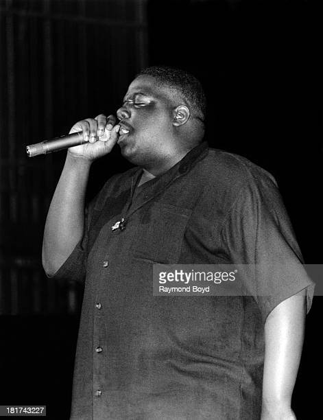 Late rapper Notorious BIG performs at the Riviera Theater in Chicago Illinois in SEPTEMBER 1994