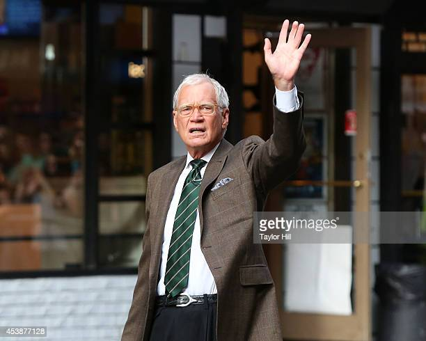 'Late Show with David Letterman' host David Letterman plays a tennis match against Serena Williams at Ed Sullivan Theater on August 20 2014 in New...